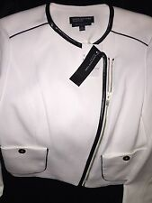 NWT Jones of New York Ladies White Jacket w/Black Leather Trim $265