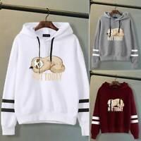 Women Girls Casual Hoodies Sloth Printed Hooded Sweatshirt Pullover Tops Ksy