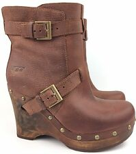 UGG Taryn Mahogany Brown Leather Wedges Platform Ankle Boots 1001316 sz: US 5