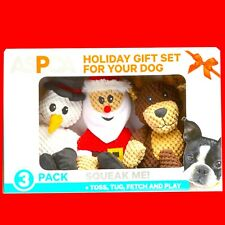 3-Pack Christmas Holiday Plush Dog Puppy Pet Toys Soft Squeaky Squeakers Gift