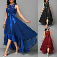Plus Size Women Evening Party Lace Sleeveless Long Dress Cocktail Ball Prom Gown