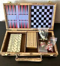 """Backgammon Set Vintage Faux Leather T5.5""""x10.5"""" Travel Case"""