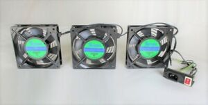 Set of 3 120x120x25mm 115AC Axial Exhaust Fan With On/Off switch/Cable/Net (125)