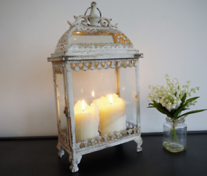 Vintage Candle Lantern Holder Hanging Antique White Metal Glass Lamp Home GIFT