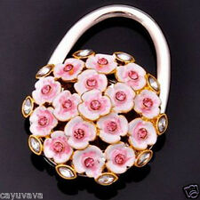 New Pink Blossom w/rhinestones Handbag Bag Purse Folding Hanger Hook Holder
