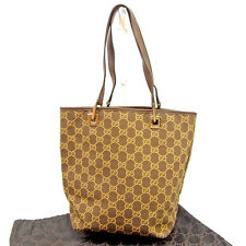 c6d8fc39f7b Gucci Tote bag GG Brown Beige Woman unisex Authentic Used Y7319