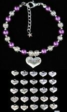 Personalised Heart Charm Bracelet - Daughter Family Relative Birthday Choice