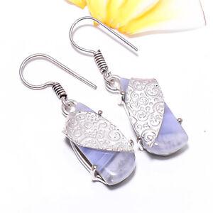 Blue Lace Agate Gemstone 925 Sterling Silver Handmade Earring Jewelry 1.56 E640