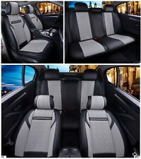 Black & Grey PU Leather Full Set Seat Covers Padded For Peugeot 207 307 407 508