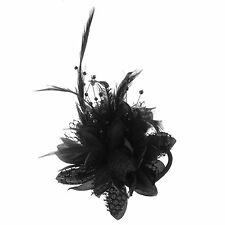 Flower Design Feather Decor Hair Band Tie Safety Pin Brooch Black BT L8G6