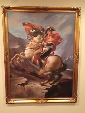 Bonaparte Crossing the St. Bernard Pass- J. David Oil Reproduction-framed