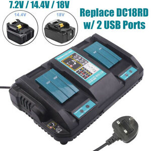 Double Twin Fast Rapid 7.2V - 18V LXT Battery Charger USB Port for Makita DC18RD