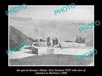 OLD POSTCARD SIZE PHOTO OF PORT JACKSON NSW THE GEORGES HEAD CANNON c1880