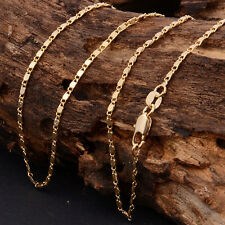 "Women Men 2mm 18k Gold Plated Plain Figaro Chain Link Necklace 18""-30'' Jewelry"