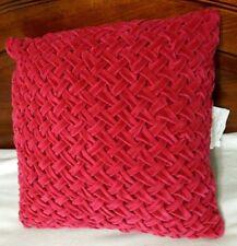 Xhilarations Red Velour Basket Weave Decorative Pillow 16 x 16 New