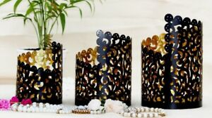 Set Of 3 Carved Boack Candle Votives Tealight Candle Holders