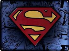 SUPERMAN Logo Blechschild Schild Wandschild DC Comics Men Of Steel 38 x 28 cm