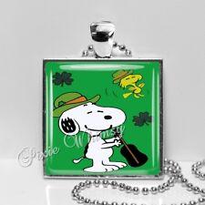 Snoopy St Patricks Day Glass Art Pendant Necklace, Irish Jewelry