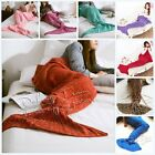 Adult/Kids/Baby Crocheted Mermaid Tail Blanket Handmade Sofa Bedding Bag Soft