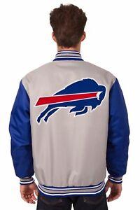 NFL Buffalo Bills  Poly Twill Jacket  Charcoal Royal Patch Logos JH Design