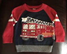 BABY GAP Toddler Sweater Red Fire Truck Size 12-18 Months NWT Retail $34.95