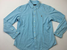 RALPH LAUREN Mens Baby Blue Button Front Cotton Shirt Size XL