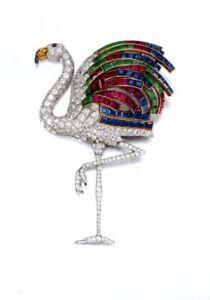 The Duchess of Windsor's jewelry Brooch Pin Princess Cut Emerald Ruby & Sapphire
