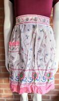 Vintage Pink Sheer Floral Waist Half Apron With Pocket  -Stained