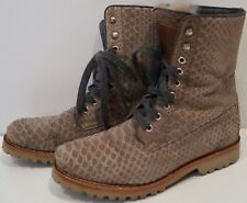 BRUNELLO CUCINELLI Beige Suede Python Print Hirshleifers Ankle Boots UK7 - NEW