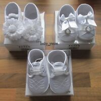 BABY WHITE SOFT PRAM SHOES BOYS GIRLS CHRISTENING WEDDING PARTY WEAR 0-12 month
