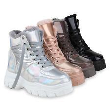 Damen Plateau Boots Warm Gefütterte Winter Stiefeletten Metallic 832644 Schuhe