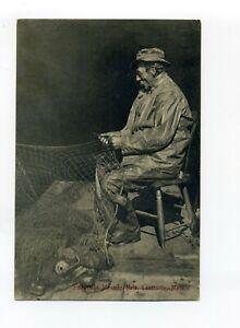 Gloucester MA Mass antique postcard, Lanesville, Fisherman Mending Nets