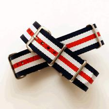Navy Blue / White / Red Stripe Nato Watch Strap: GB / RAF MOD : 18 / 20mm (FL88)