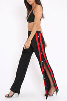 Womens Contrast Stripe Wide Leg Side Popper Trousers in Black BNWT (RRP £44.99)