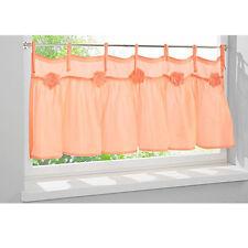 2er-Pack Scheibengardine Panneaux für Doppelfenster Bindebänder 45x55 cm Apricot