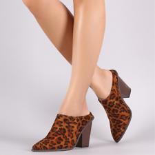 6034021fbf28 Chase   Chloe CHAMBER-1 Leopard Faux Suede Pointy Toe Slip-On Mule Block
