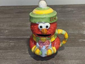 ELMO Sesame Street Ceramic Sugar Canister/Jar w/ Handle and Top Creamer/Flour