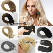 Double Drawn Remy Human Hair Extensions Micro Ring Beads Loop Tip Straight 1g/s