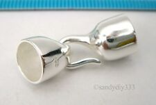 1x BRIGHT STERLING SILVER PLAIN LEATHER END CAP 8mm CORD with HOOK CLASP #2590