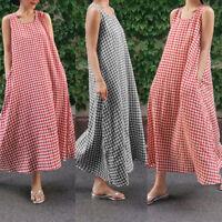ZANZEA Women Summer Sleeveless Check Plaid Baggy Sundress Vest Shirt Dress Plus