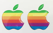 2 x 3D Domed Rainbow Apple logo stickers for iPhone, iPad cover. Size 35x30mm