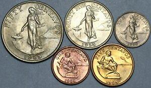 1958 Philippines 1c 5c 10c 25c 50c Five Coin Type Set Choice BU (21061902R)