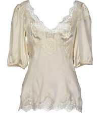 Dolce & Gabbana SATIN WITH SCALLOPED LACE INSETS SHORT-SLEEVED TOP Blouse
