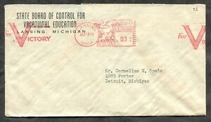 p1785 - LANSING Mich 1942 Meter Patriotic Slogan on Cover to Detroit. VICTORY