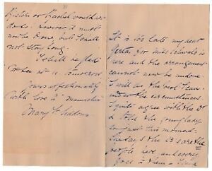 Mary Frances Scott-Siddons - actress - Manager Haymarket Theatre -signed note