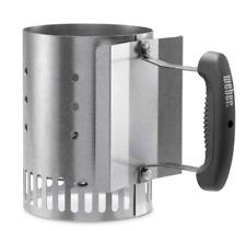 Weber Charcoal Starter Lighter Can Fire Grill Bin Grate Handle Steel Chimney New