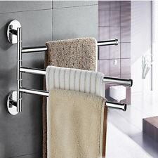 Stainless Steel Towel Bar Rack Holder Wall Hanger Swivel 3 Swing Arm Silver