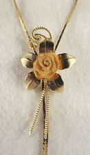 Vintage Mesh Rose Flower w/Leaves Bright Shiny Gold Tone Lariat Chain Necklace