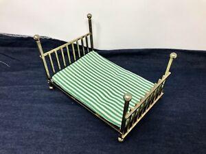 Vintage Dollhouse Miniature Brass Bed Green White Striped Mattress 1:12 Japan