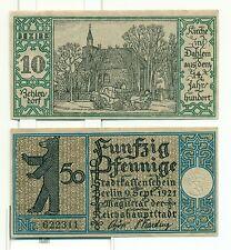 OLD GERMANY EMERGENCY PAPER MONEY - NOTGELD Berlin 1921 50 Pf Townships 10